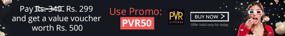 PVR Cinemas Voucher worth Rs.500 at just Rs.299 @ Nearbuy – Books, Music and Movies